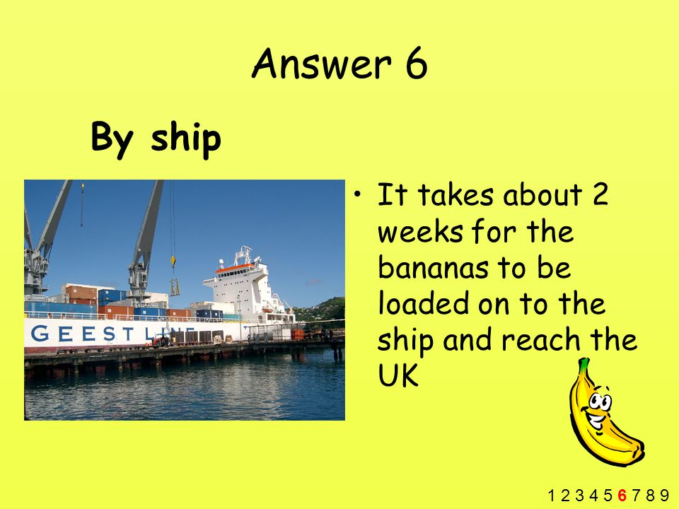 Answer 6 It takes about 2 weeks for the bananas to be loaded on to the ship and reach the UK By ship 1 2 3 4 5 6 7 8 9