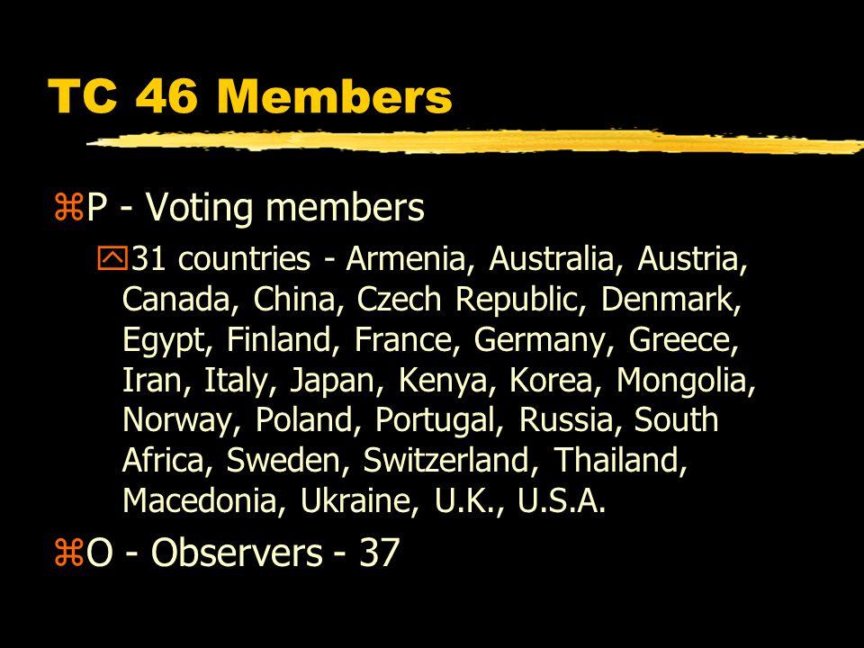 TC 46 Members zP - Voting members y31 countries - Armenia, Australia, Austria, Canada, China, Czech Republic, Denmark, Egypt, Finland, France, Germany, Greece, Iran, Italy, Japan, Kenya, Korea, Mongolia, Norway, Poland, Portugal, Russia, South Africa, Sweden, Switzerland, Thailand, Macedonia, Ukraine, U.K., U.S.A.