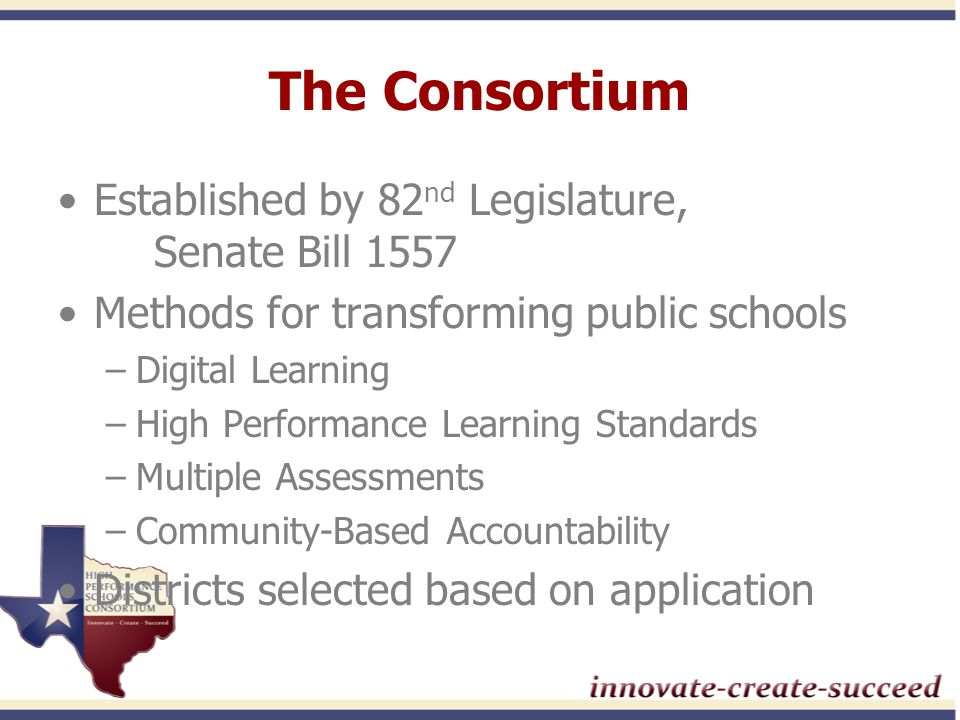 Consortium Districts 23 participating districts Diversity among districts, campuses, students and communities –Districts as small as 105 students –Districts as large as 52,000 students –Rural, suburban and urban areas –Representative of Texas demographics