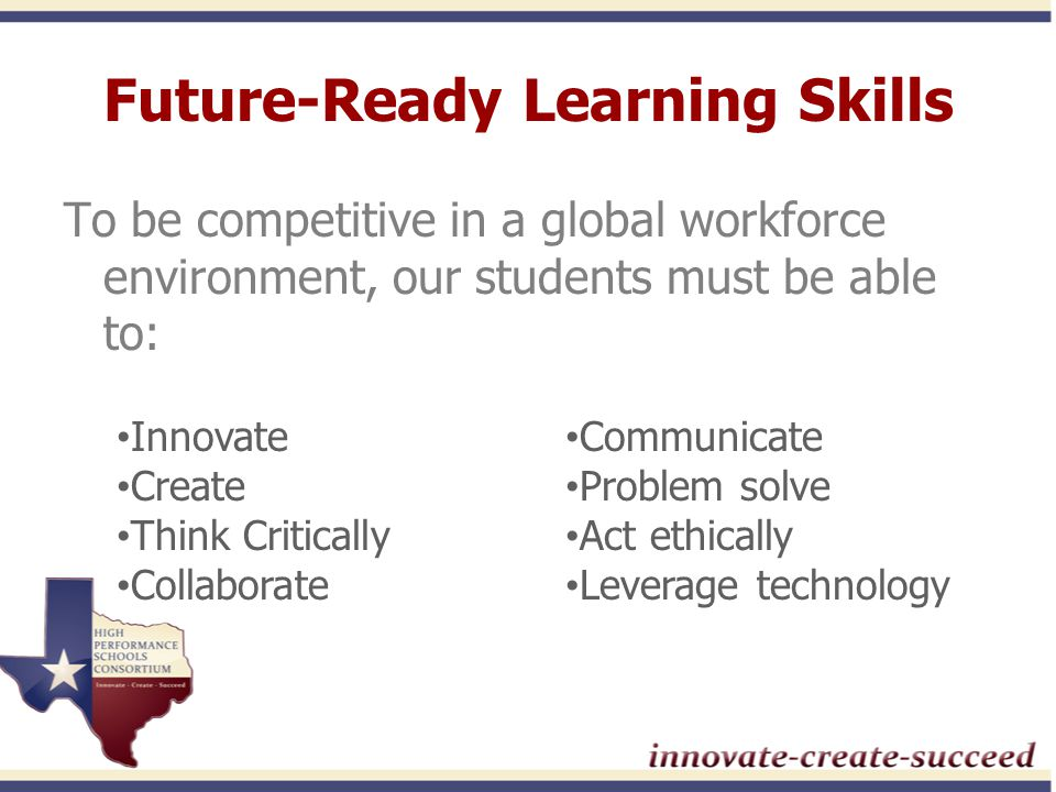 Vision of a K-12 Classroom Relevant and engaging instructional environments Critical thinking and problem solving are the norm High-Priority Learning Standards grounded in future-ready skills Academically rigorous Digital citizenship