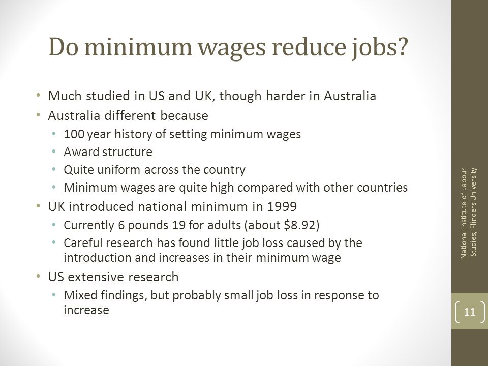 Do minimum wages reduce jobs.