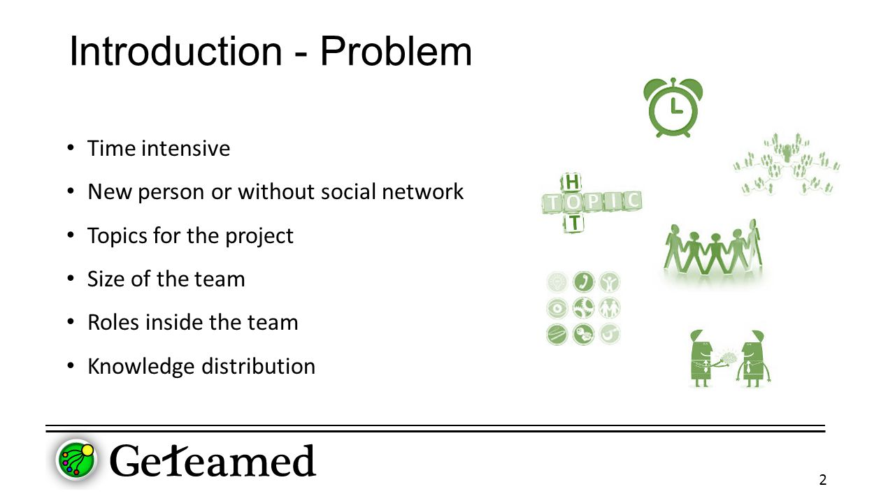 Introduction - Problem Time intensive New person or without social network Topics for the project Size of the team Roles inside the team Knowledge distribution 2