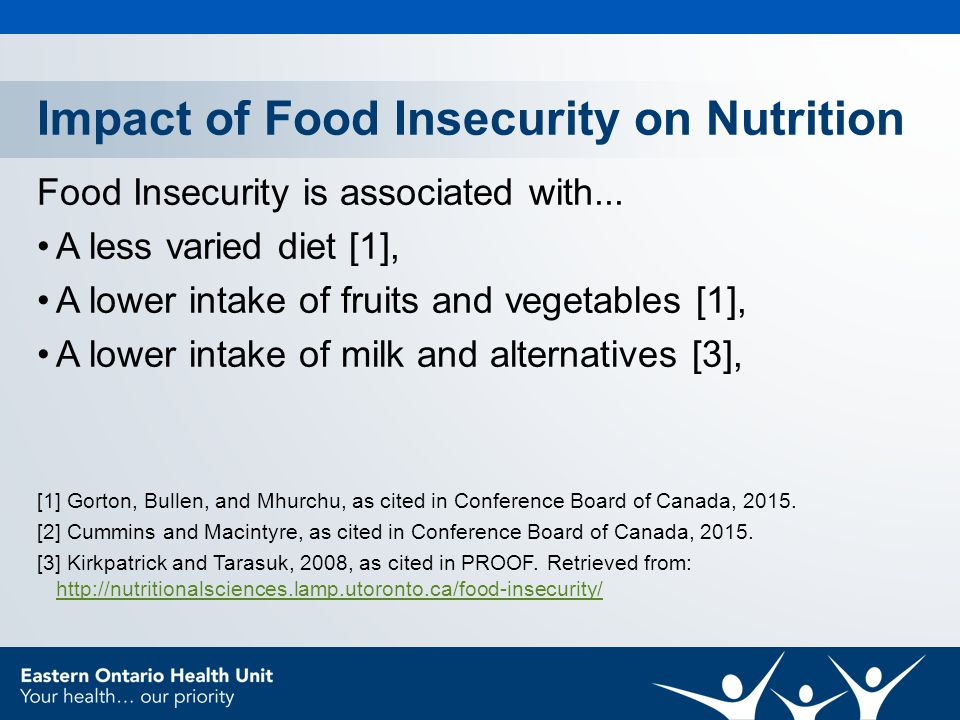 Impact of Food Insecurity on Nutrition Food Insecurity is associated with...