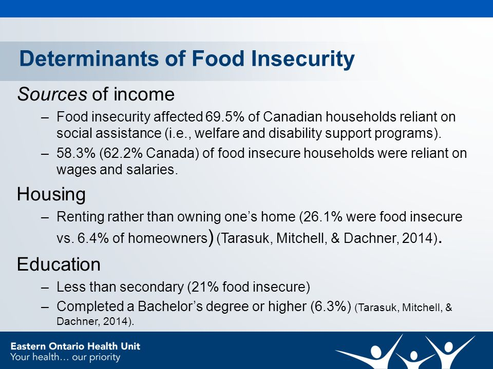 Determinants of Food Insecurity Sources of income –Food insecurity affected 69.5% of Canadian households reliant on social assistance (i.e., welfare and disability support programs).