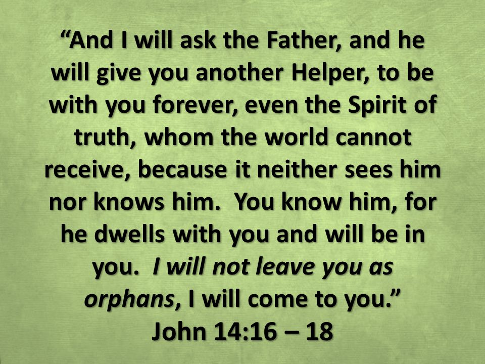 And I will ask the Father, and he will give you another Helper, to be with you forever, even the Spirit of truth, whom the world cannot receive, because it neither sees him nor knows him.