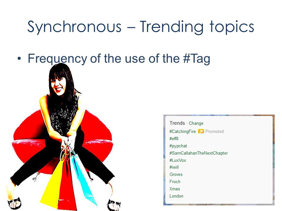 Synchronous – Trending topics Frequency of the use of the #Tag