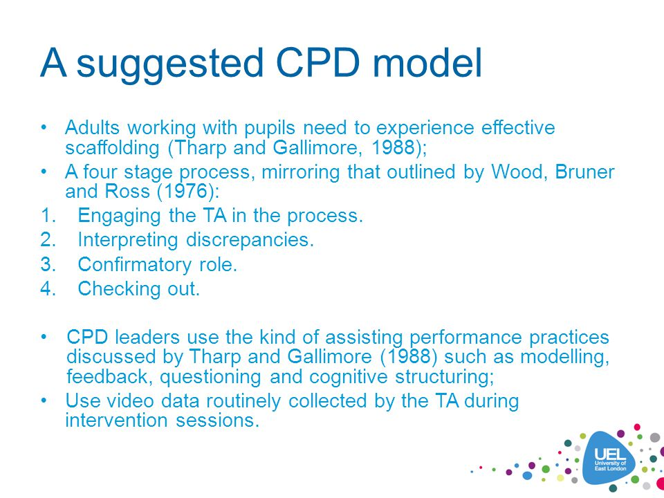 A suggested CPD model Adults working with pupils need to experience effective scaffolding (Tharp and Gallimore, 1988); A four stage process, mirroring