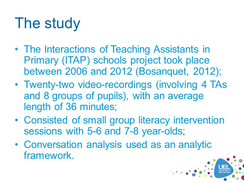 The study The Interactions of Teaching Assistants in Primary (ITAP) schools project took place between 2006 and 2012 (Bosanquet, 2012); Twenty-two vid