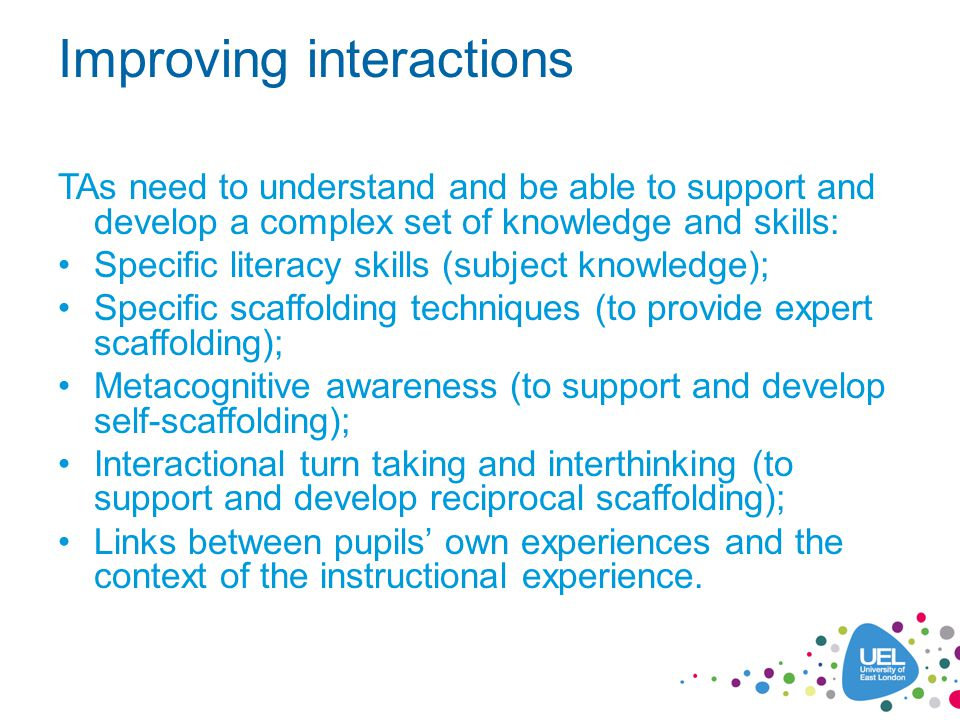 Improving interactions TAs need to understand and be able to support and develop a complex set of knowledge and skills: Specific literacy skills (subj