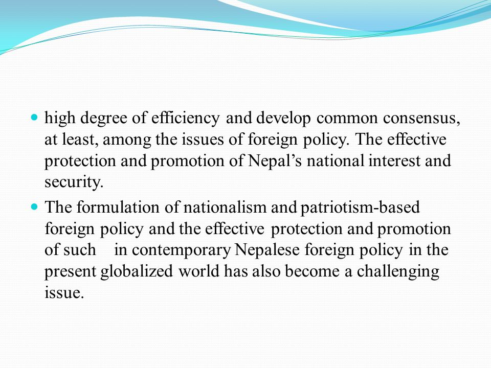 high degree of efficiency and develop common consensus, at least, among the issues of foreign policy. The effective protection and promotion of Nepal'