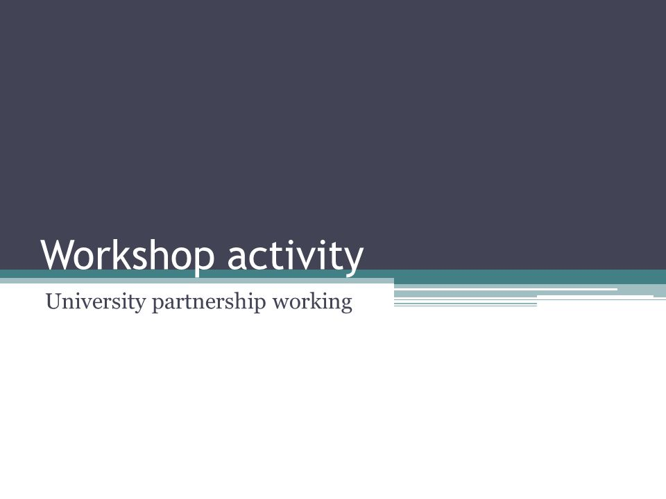 Workshop activity University partnership working