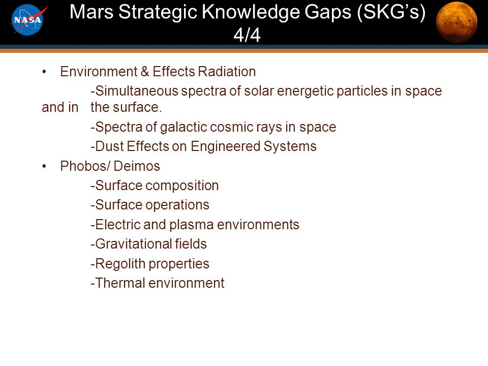 Mars Program Re-Planning 2012 Mars Strategic Knowledge Gaps (SKG's) 4/4 Environment & Effects Radiation -Simultaneous spectra of solar energetic particles in space and in the surface.