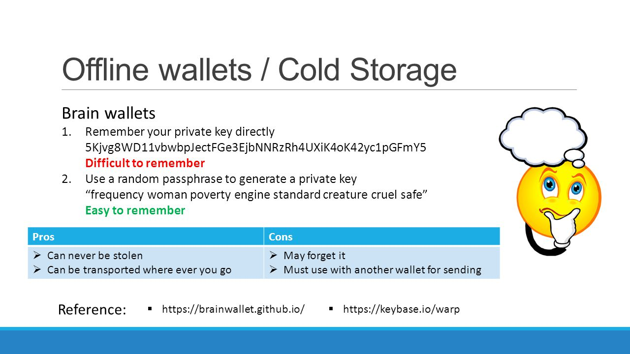 Offline wallets / Cold Storage Brain wallets 1.Remember your private key directly 5Kjvg8WD11vbwbpJectFGe3EjbNNRzRh4UXiK4oK42yc1pGFmY5 Difficult to rem