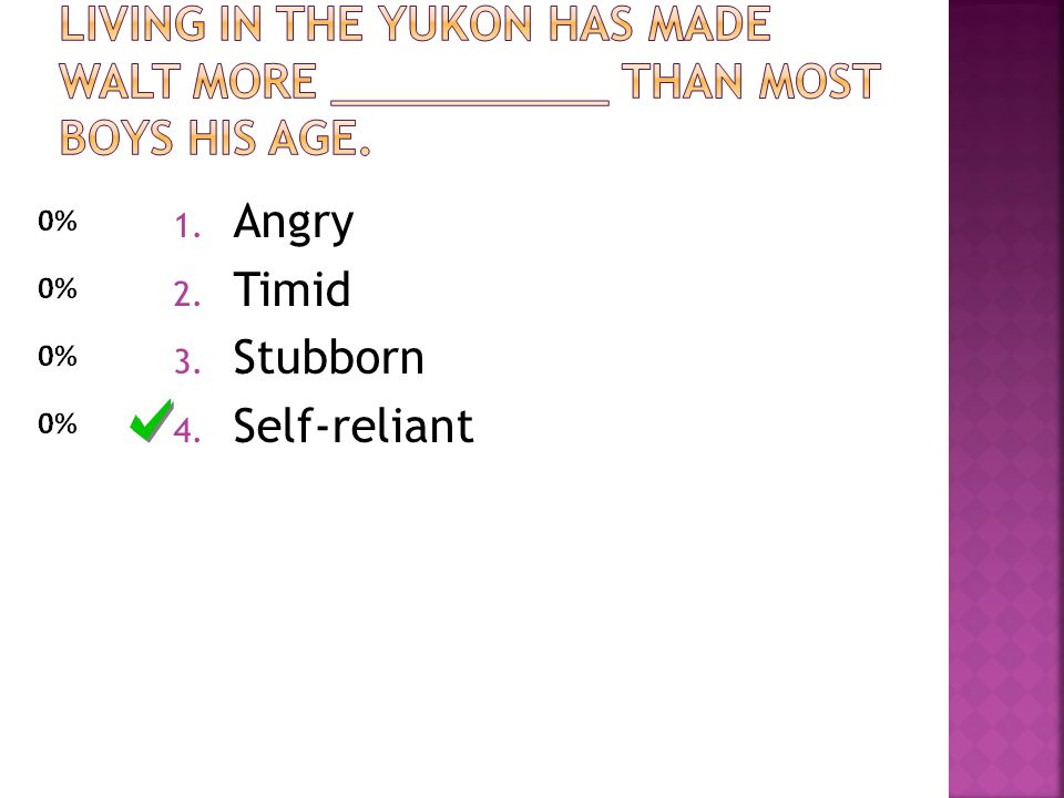 1. Angry 2. Timid 3. Stubborn 4. Self-reliant