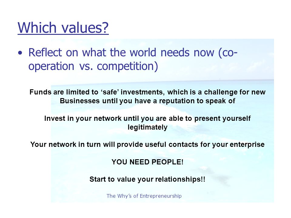 The Why's of Entrepreneurship Which values. Reflect on what the world needs now (co- operation vs.