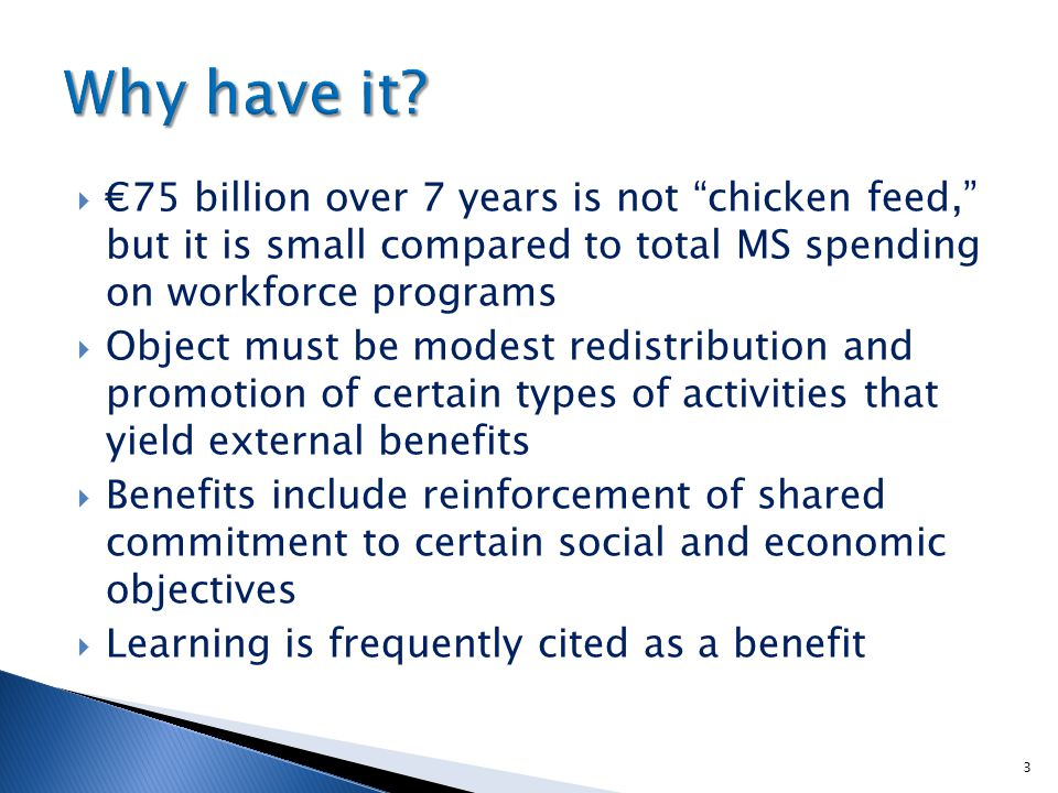  €75 billion over 7 years is not chicken feed, but it is small compared to total MS spending on workforce programs  Object must be modest redistribution and promotion of certain types of activities that yield external benefits  Benefits include reinforcement of shared commitment to certain social and economic objectives  Learning is frequently cited as a benefit 3