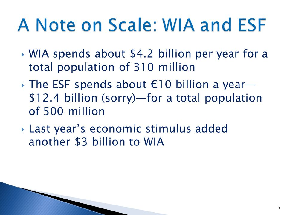  WIA spends about $4.2 billion per year for a total population of 310 million  The ESF spends about €10 billion a year— $12.4 billion (sorry)—for a total population of 500 million  Last year's economic stimulus added another $3 billion to WIA 8