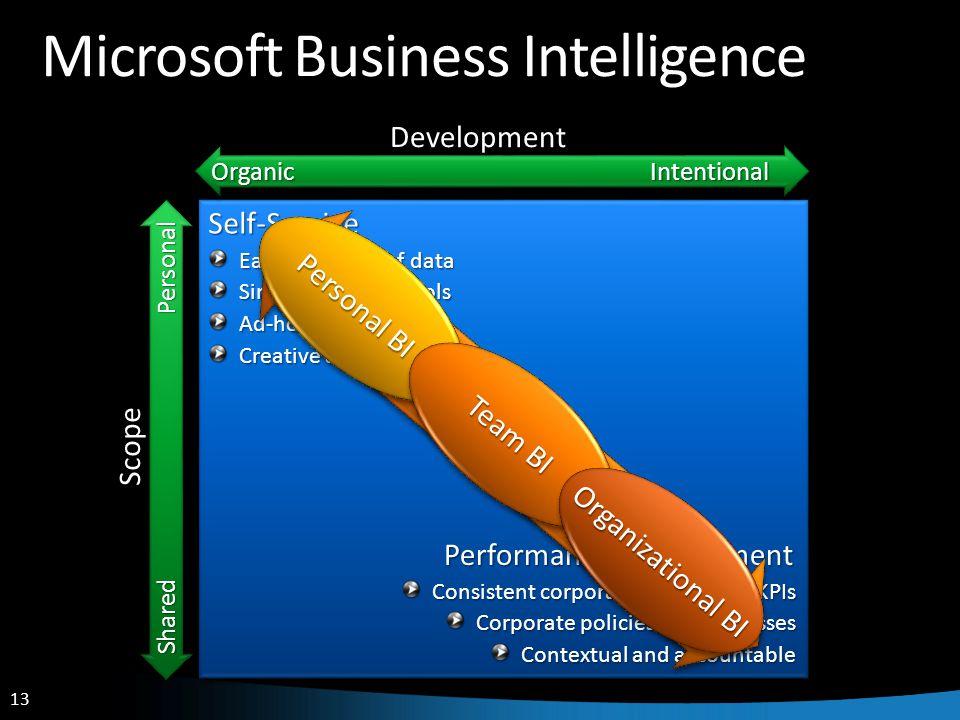 13 Microsoft Business Intelligence Shared Personal Scope Organic Intentional DevelopmentSelf-Service Performance Management Easy discovery of data Sim