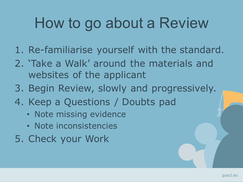 How to go about a Review 1.Re-familiarise yourself with the standard.