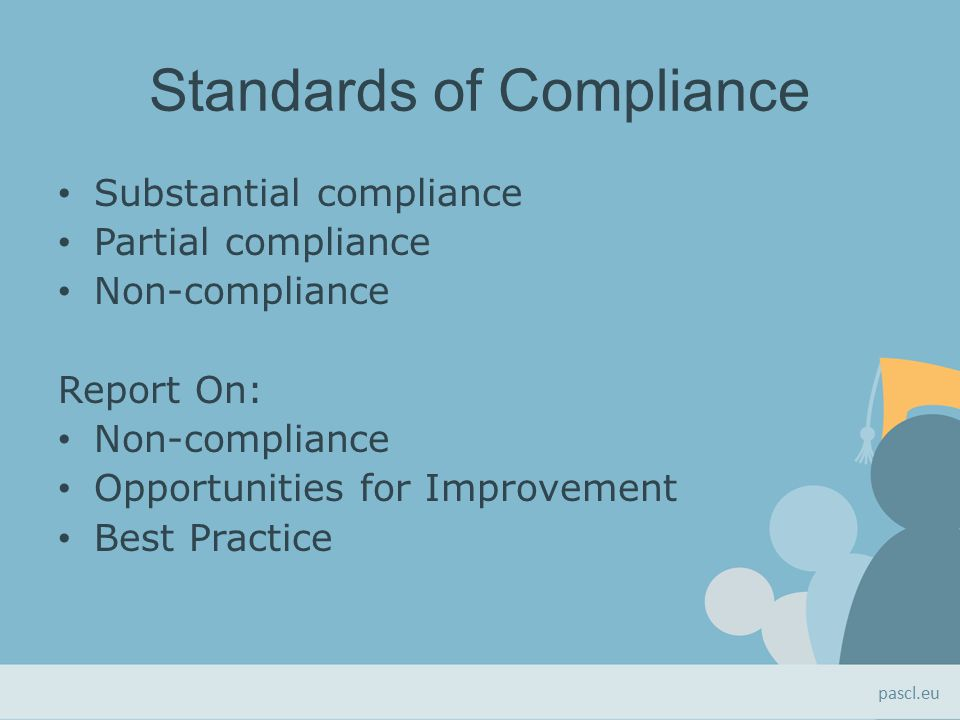 Standards of Compliance Substantial compliance Partial compliance Non-compliance Report On: Non-compliance Opportunities for Improvement Best Practice pascl.eu