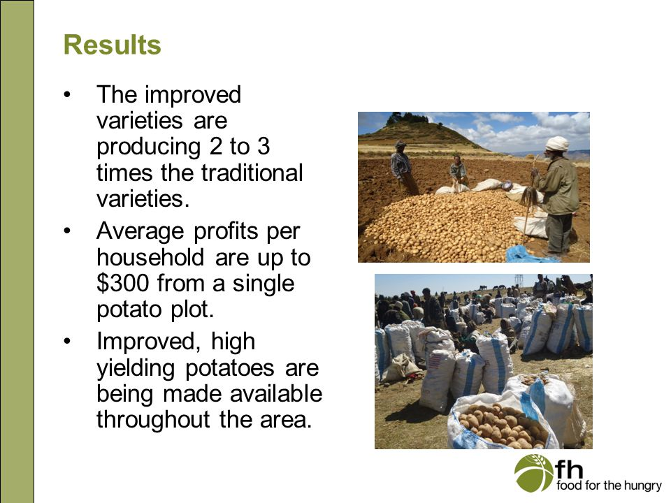 Results The improved varieties are producing 2 to 3 times the traditional varieties. Average profits per household are up to $300 from a single potato