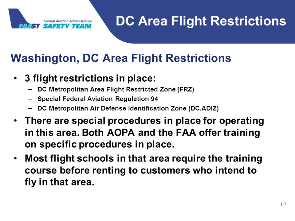 Federal Aviation Administration Washington, DC Area Flight Restrictions 12 3 flight restrictions in place: –DC Metropolitan Area Flight Restricted Zon