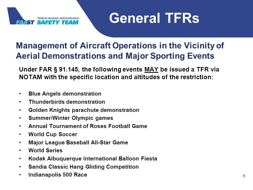 Federal Aviation Administration Management of Aircraft Operations in the Vicinity of Aerial Demonstrations and Major Sporting Events 6 66 Under FAR §
