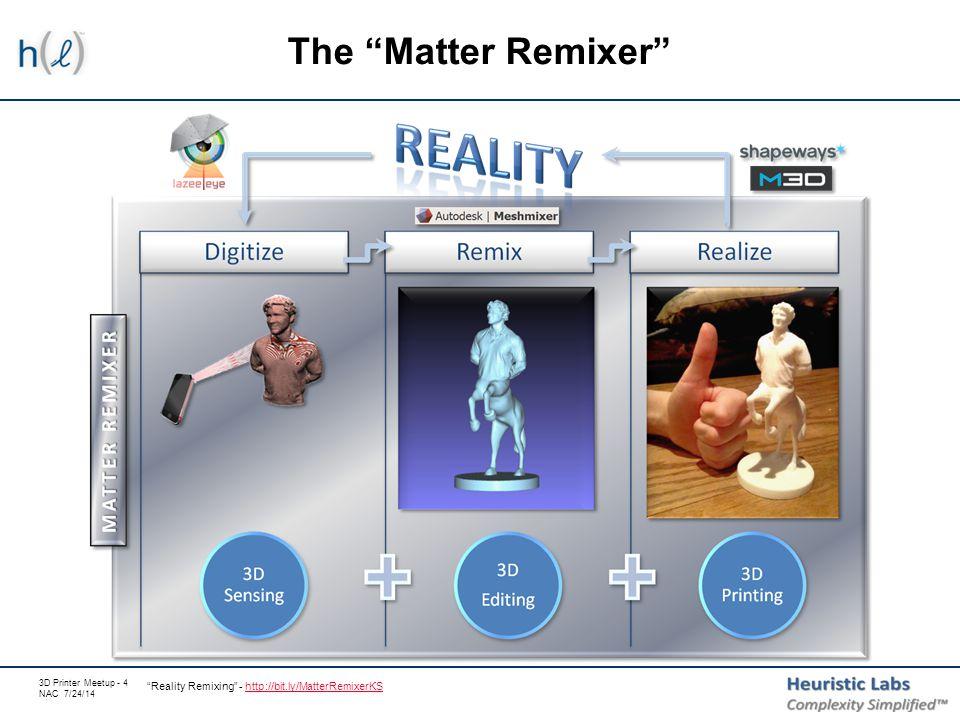 3D Printer Meetup - 4 NAC 7/24/14 The Matter Remixer Reality Remixing - http://bit.ly/MatterRemixerKShttp://bit.ly/MatterRemixerKS