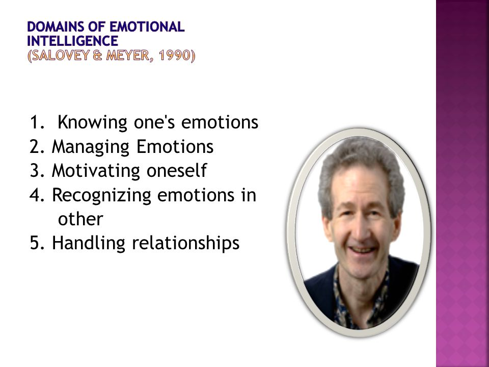1. Knowing one's emotions 2. Managing Emotions 3. Motivating oneself 4. Recognizing emotions in other 5. Handling relationships