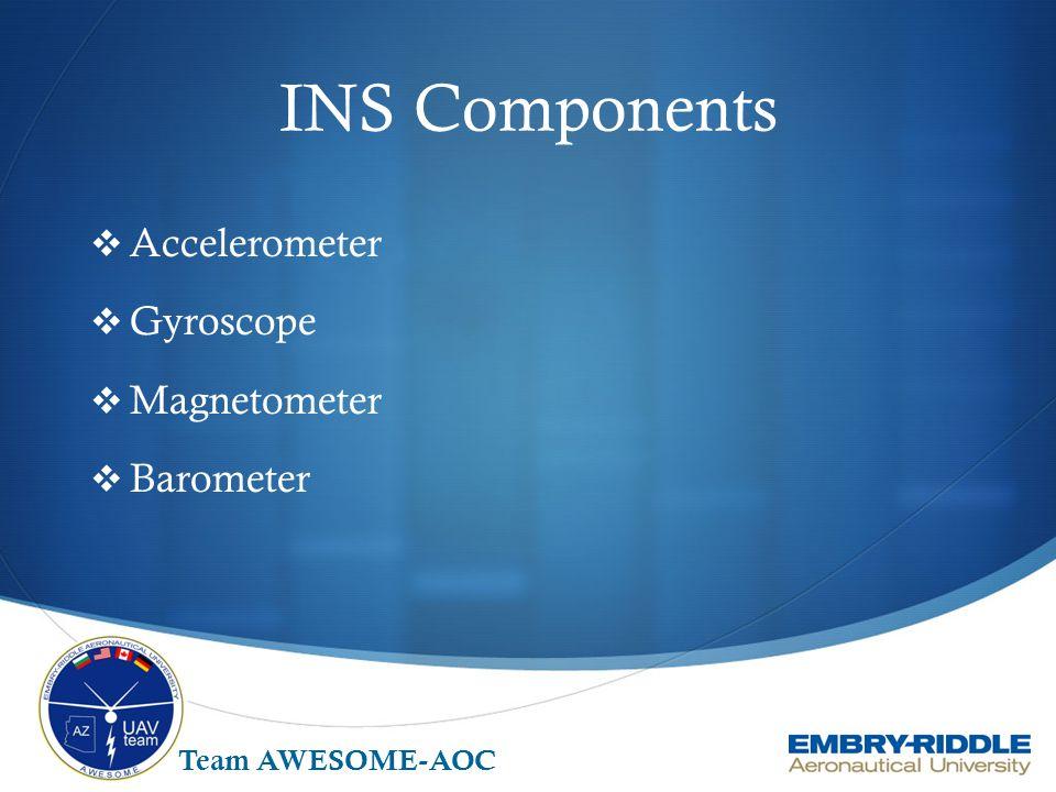 INS Components  Accelerometer  Gyroscope  Magnetometer  Barometer Team AWESOME-AOC