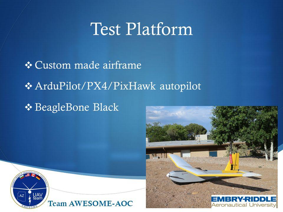 Test Platform  Custom made airframe  ArduPilot/PX4/PixHawk autopilot  BeagleBone Black Team AWESOME-AOC