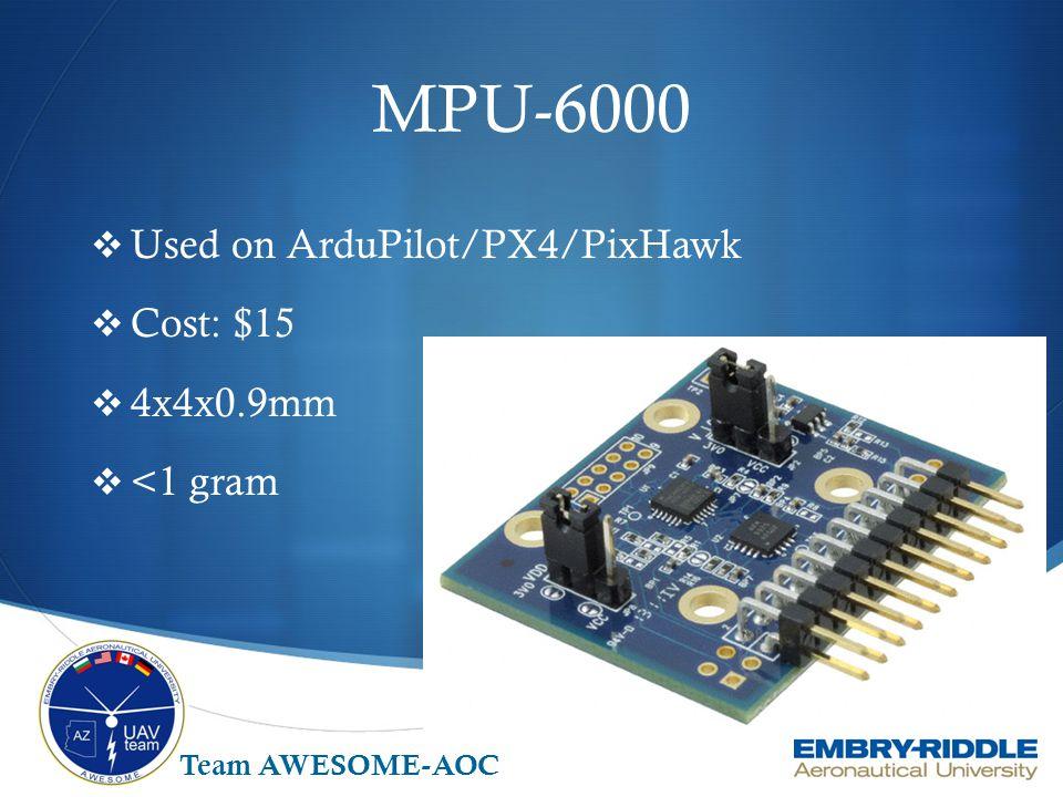 MPU-6000  Used on ArduPilot/PX4/PixHawk  Cost: $15  4x4x0.9mm  <1 gram Team AWESOME-AOC