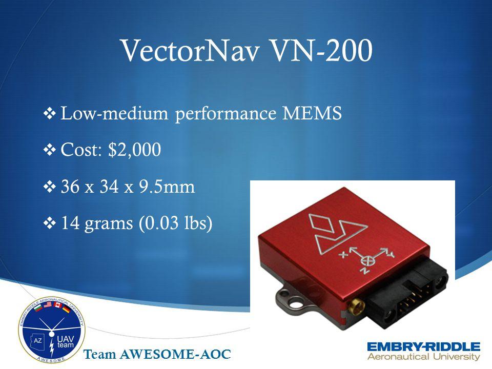 Sensonor STIM 300  High end performance MEMS  Cost: $10,000  44.8 x 38.6 x 21.5mm  55 grams (0.12 lbs) Team AWESOME-AOC