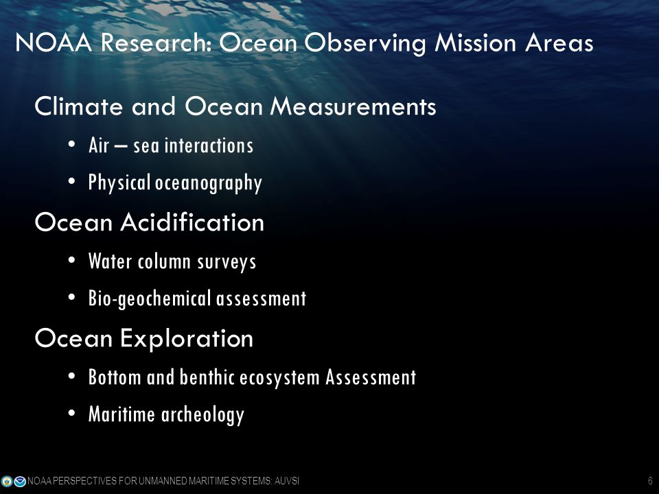 NOAA Research: Ocean Observing Mission Areas Climate and Ocean Measurements Air – sea interactions Physical oceanography Ocean Acidification Water column surveys Bio-geochemical assessment Ocean Exploration Bottom and benthic ecosystem Assessment Maritime archeology NOAA PERSPECTIVES FOR UNMANNED MARITIME SYSTEMS: AUVSI6