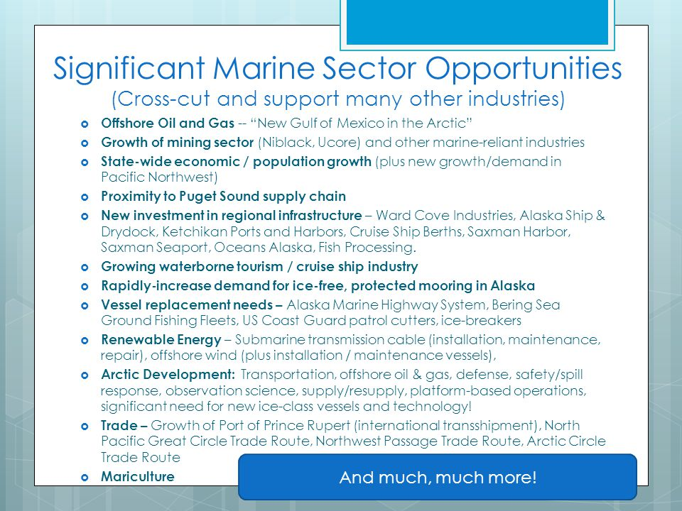 Significant Marine Sector Opportunities (Cross-cut and support many other industries)  Offshore Oil and Gas -- New Gulf of Mexico in the Arctic  Growth of mining sector (Niblack, Ucore) and other marine-reliant industries  State-wide economic / population growth (plus new growth/demand in Pacific Northwest)  Proximity to Puget Sound supply chain  New investment in regional infrastructure – Ward Cove Industries, Alaska Ship & Drydock, Ketchikan Ports and Harbors, Cruise Ship Berths, Saxman Harbor, Saxman Seaport, Oceans Alaska, Fish Processing.