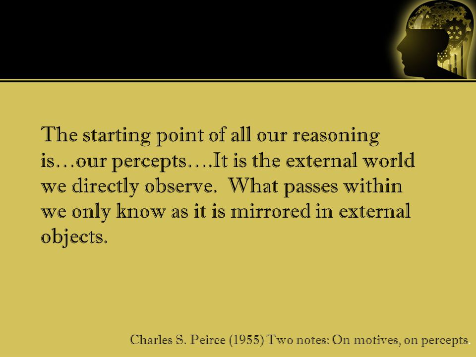 The starting point of all our reasoning is…our percepts….It is the external world we directly observe.