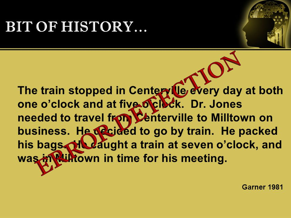 BIT OF HISTORY… The train stopped in Centerville every day at both one o'clock and at five o'clock.