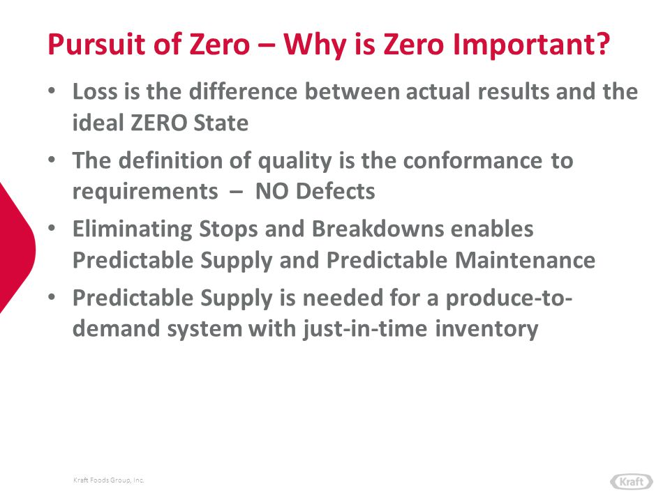 Kraft Foods Group, Inc. Pursuit of Zero – Why is Zero Important? Loss is the difference between actual results and the ideal ZERO State The definition