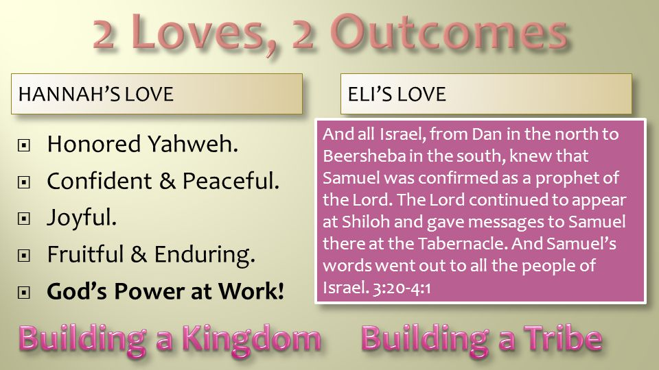 HANNAH'S LOVE ELI'S LOVE  Honored Yahweh.  Confident & Peaceful.  Joyful.  Fruitful & Enduring.  God's Power at Work!  Honored 'My People'.  In