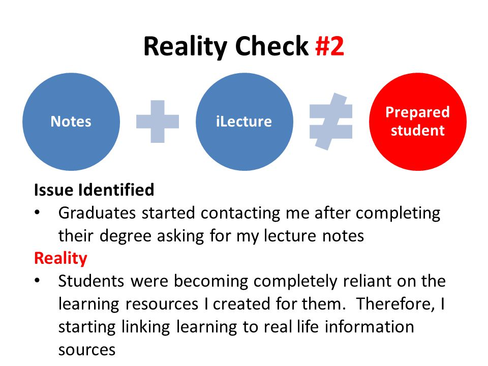 Reality Check #2 NotesiLecture Prepared student Issue Identified Graduates started contacting me after completing their degree asking for my lecture notes Reality Students were becoming completely reliant on the learning resources I created for them.