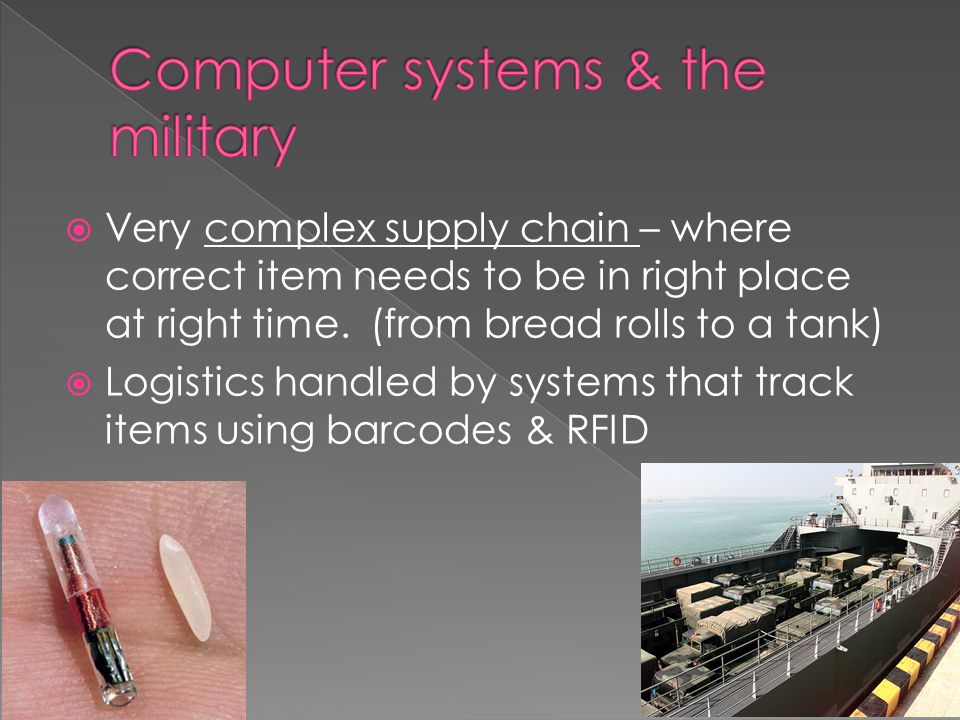  Very complex supply chain – where correct item needs to be in right place at right time.