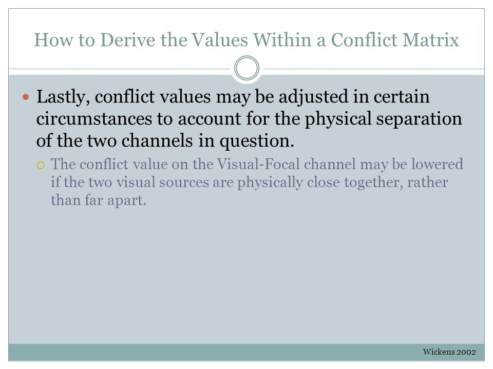 How to Derive the Values Within a Conflict Matrix Lastly, conflict values may be adjusted in certain circumstances to account for the physical separation of the two channels in question.