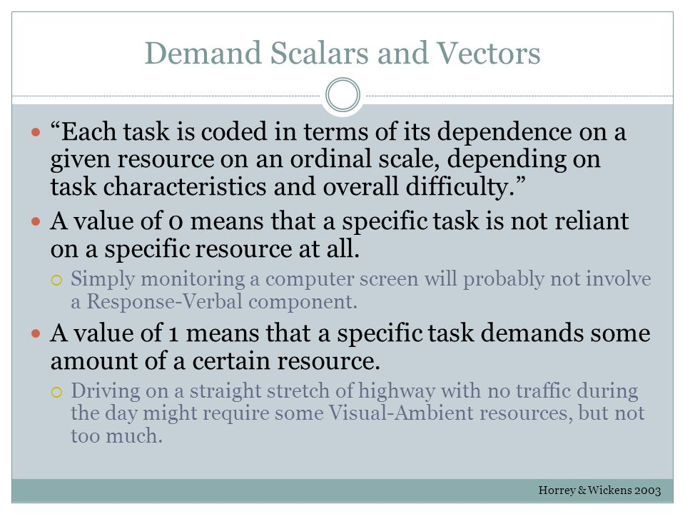 Demand Scalars and Vectors Each task is coded in terms of its dependence on a given resource on an ordinal scale, depending on task characteristics and overall difficulty. A value of 0 means that a specific task is not reliant on a specific resource at all.