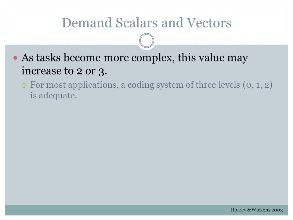 Demand Scalars and Vectors As tasks become more complex, this value may increase to 2 or 3.