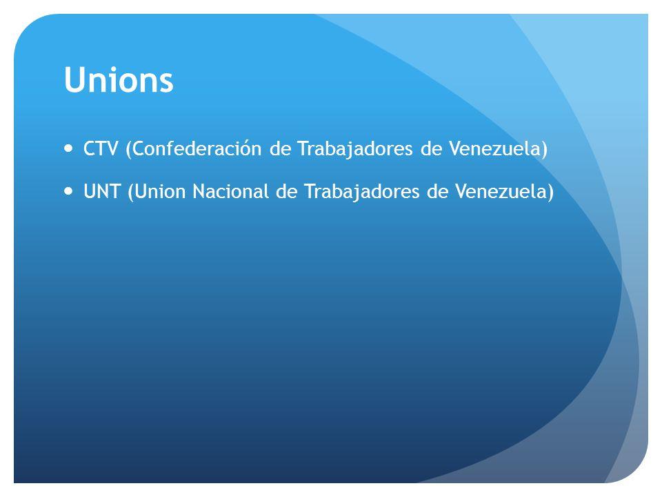 Unions CTV (Confederación de Trabajadores de Venezuela) UNT (Union Nacional de Trabajadores de Venezuela)