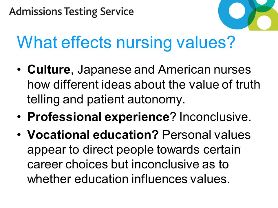 What effects nursing values.
