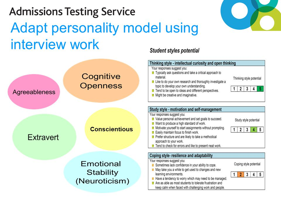 Adapt personality model using interview work Conscientious