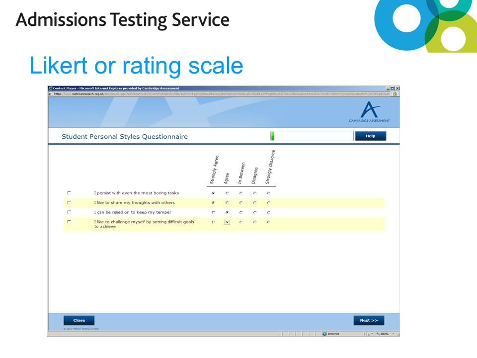 Likert or rating scale