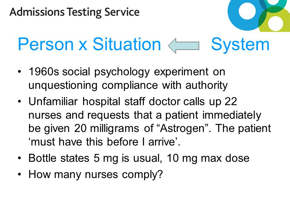 Person x Situation System 1960s social psychology experiment on unquestioning compliance with authority Unfamiliar hospital staff doctor calls up 22 nurses and requests that a patient immediately be given 20 milligrams of Astrogen .