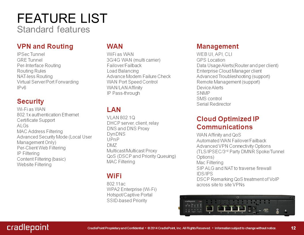 FEATURE LIST Standard features 12 VPN and Routing IPSec Tunnel GRE Tunnel Per-Interface Routing Routing Rules NAT-less Routing Virtual Server/Port For